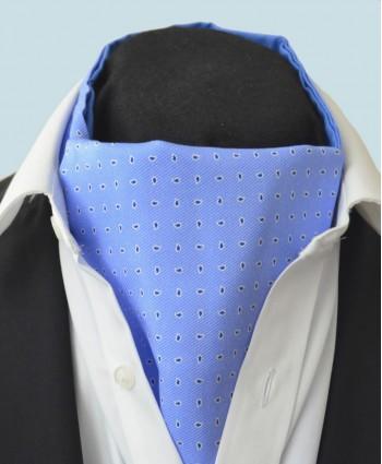 Fine Silk Raindrop Pattern Cravat in Light Blue with Navy