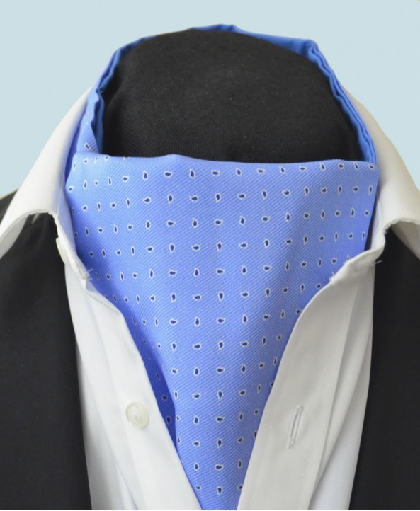 Fine Silk Raindrop Pattern Cravat in Light Blue with Navy