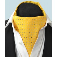 Fine Silk Raindrop Pattern Cravat in Yellow with Navy