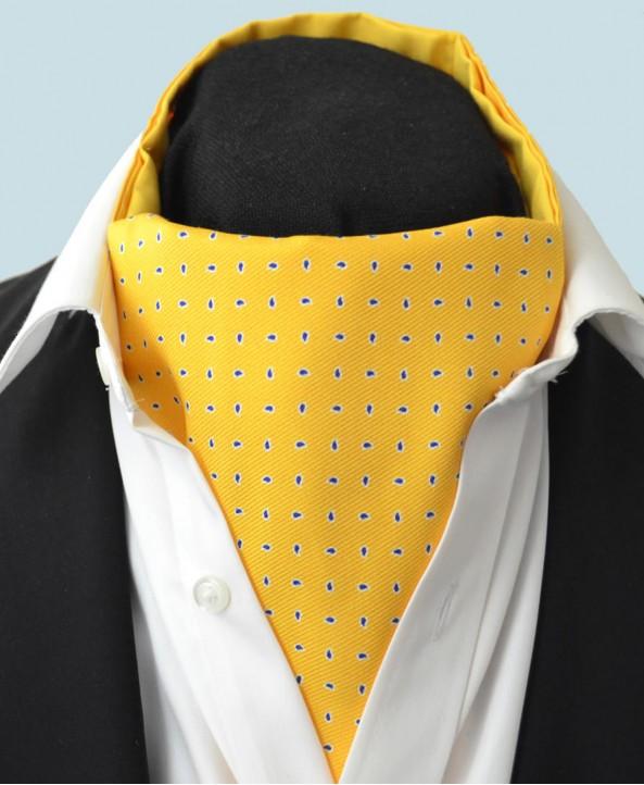 Fine Silk Raindrop Pattern Cravat in Yellow with Navy