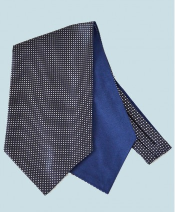 Fine Silk Spotted Cravat with Small White Spots on Navy Blue
