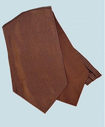 Fine Silk Spotted Cravat with Small White Spots on Rich Brown