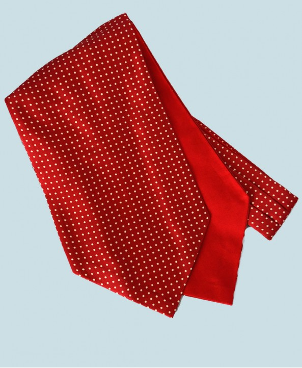 Fine Silk Spotted Cravat with Small White Spots on Warm Red