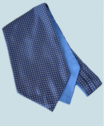 Fine Silk Spotted Cravat with Small White Spots on Light Blue