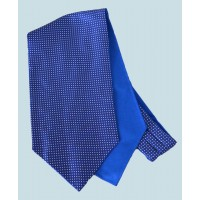 Fine Silk Spotted Cravat with Small White Spots on Royal Blue