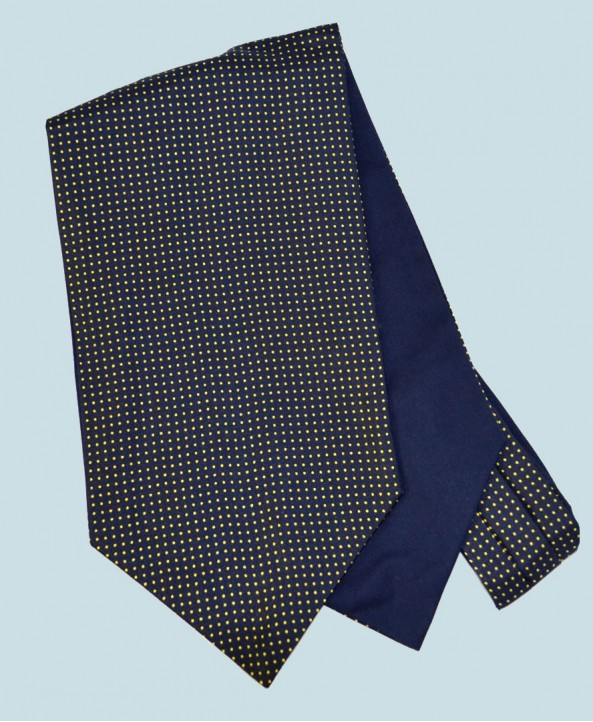 Fine Silk Spotted Cravat with Small Yellow Spots on Navy Blue