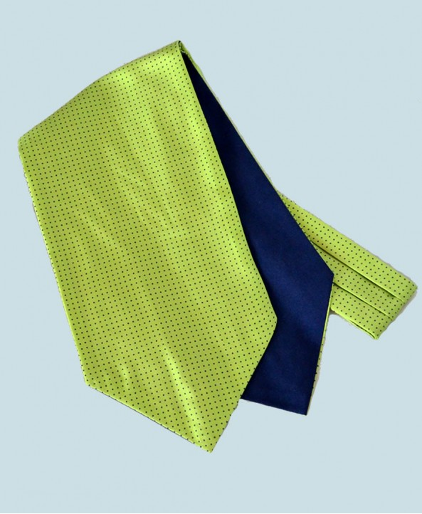 Fine Silk Spotted Cravat with Small Navy Spots on Light Green