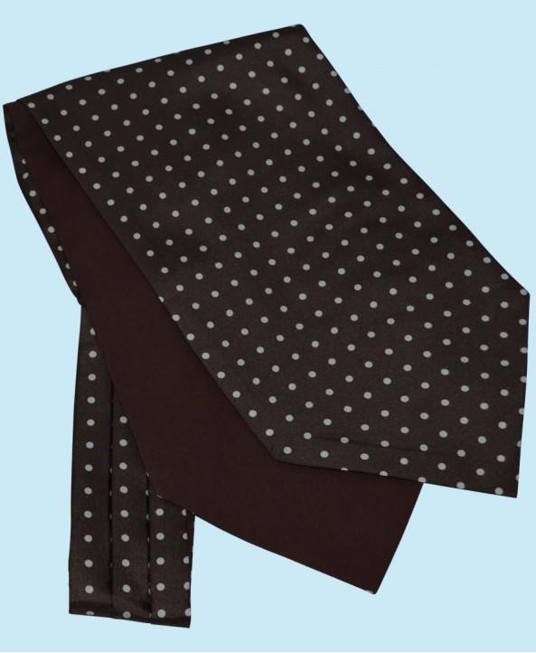 Silk Cravat in Dark Brown with White Spots