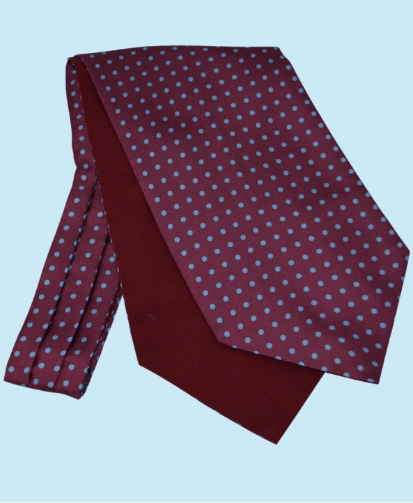 Silk Cravat in Wine Red with Sky Blue Spots