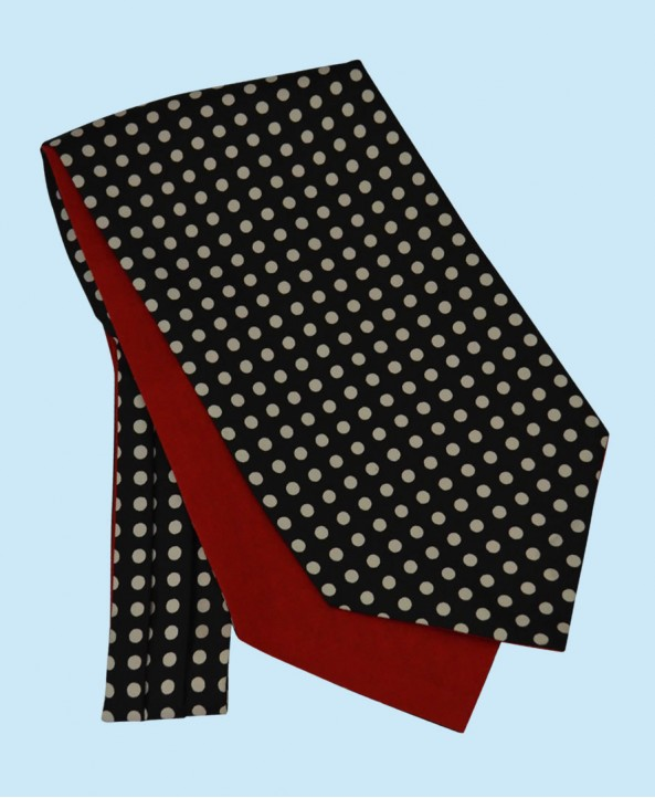 Silk Cravat in Black with White Polka Dots