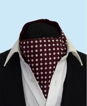 Silk Cravat in Burgundy with White Polka Dots
