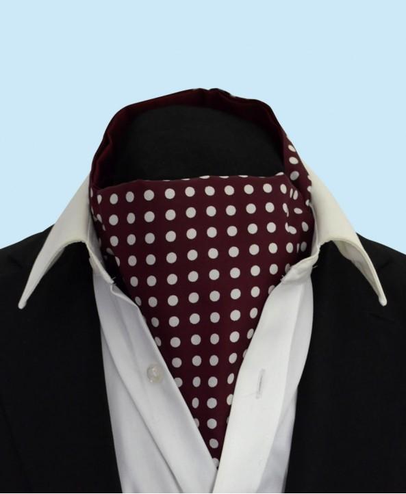 Silk Cravat in Burgundy with White Polka Dots