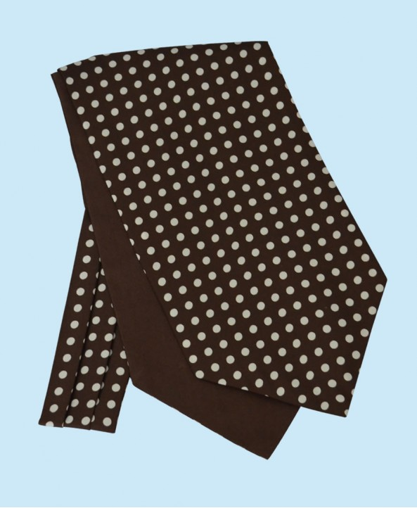 Silk Cravat in Chocolate Brown with White Polka Dots