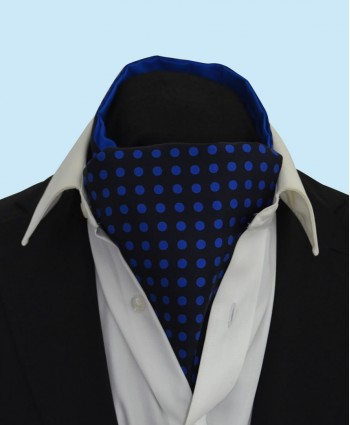 Silk Cravat in Navy Blue with Royal Blue Polka Dots