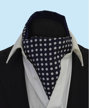 Silk Cravat in Navy Blue with White Polka Dots