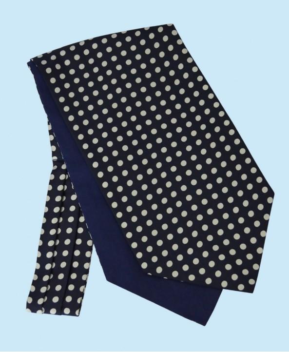 Silk Cravat in Navy Blue with White Polka Dots