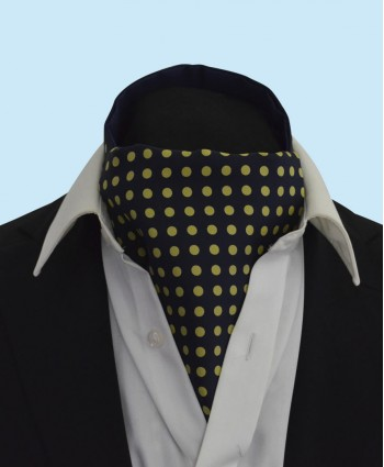 Silk Cravat in Navy with Gold Polka Dots