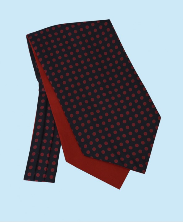 Silk Cravat in Navy with Red Polka Dots