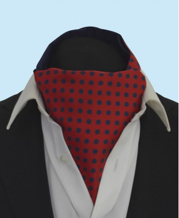 Silk Cravat in Red with Navy Polka Dots