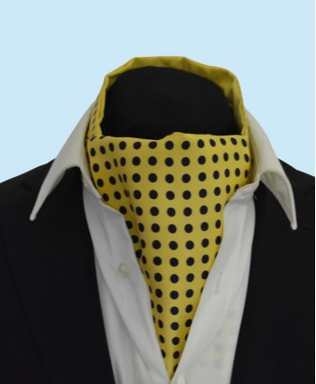 Silk Cravat in Yellow with Black Polka Dots