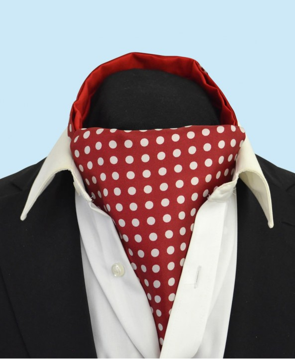 Silk Cravat in Deep Wine Red with White Polka Dots