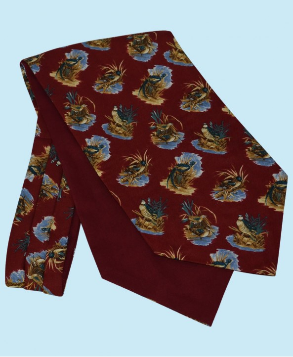 Wool and Cotton Cravat with Water Birds on a Burgundy Background