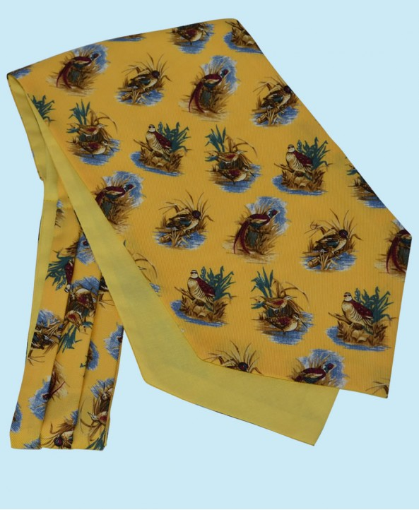 Wool and Cotton Cravat with Water Birds on a Golden Yellow Background