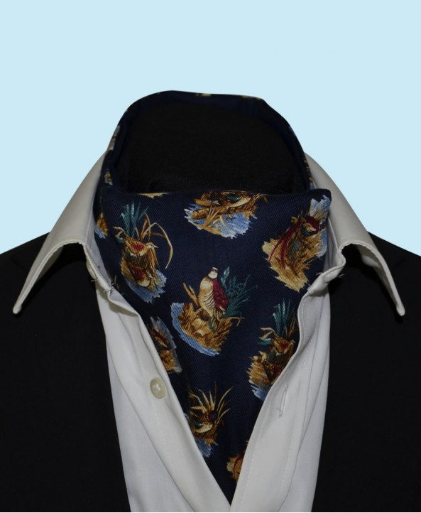 Wool and Cotton Cravat with Water Birds on a Navy Background