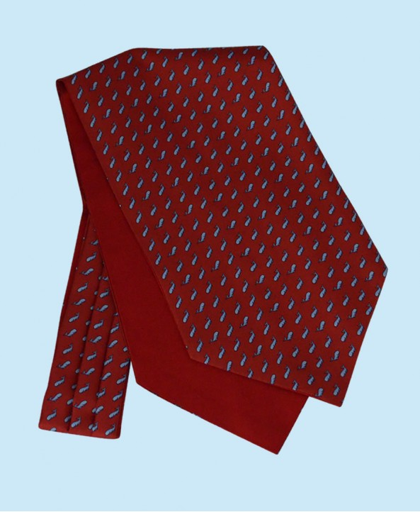 Silk Cravat in Classic Red with Sky Blue Whales