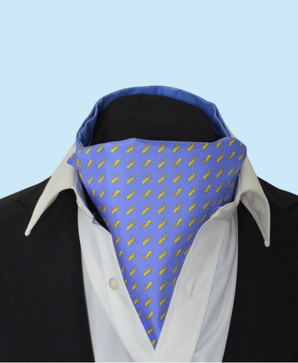 Silk Cravat in Sky Blue with Yellow Whales