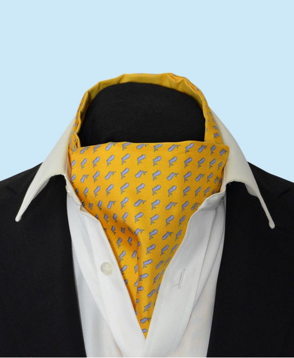 Silk Cravat in Yellow with Sky Blue Whales