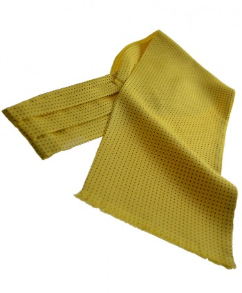 Fine Italian All-Silk Spotted Cravat with Navy Pin Dots on Warm Yellow