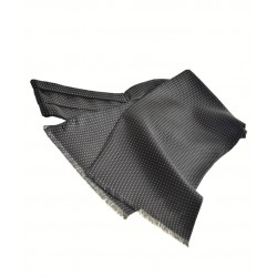 Fine Italian All-Silk Spotted Cravat with White Pin Dots on Navy Blue