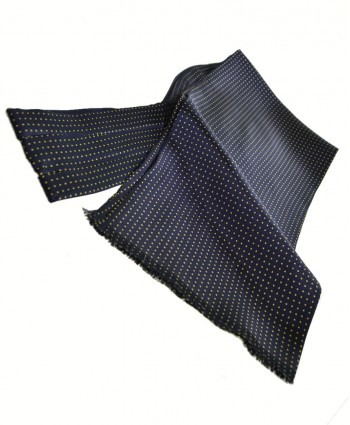 Fine Italian All-Silk Spotted Cravat with Yellow Pin Dots on Navy Blue