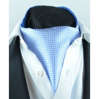 Fine Silk Classic Houndstooth Pattern Cravat in Light Blue