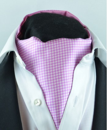 Fine Silk Classic Houndstooth Pattern Cravat in Pink