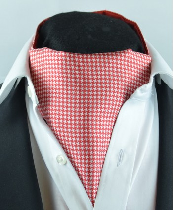 Fine Silk Classic Houndstooth Pattern Cravat in Red