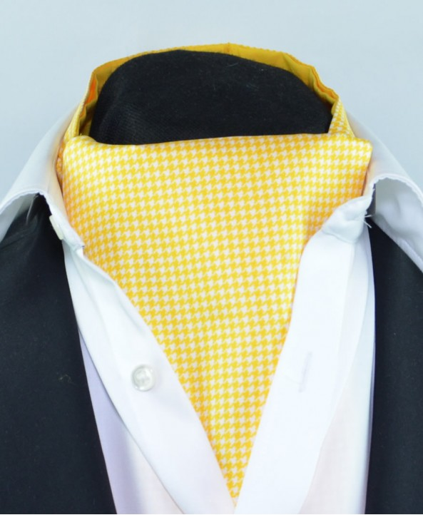 Fine Silk Classic Houndstooth Pattern Cravat in Yellow