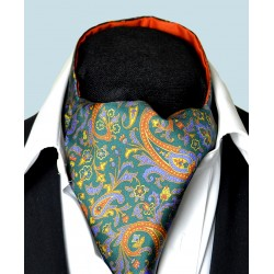 Fine Silk Free Spirit Paisley Pattern Cravat in Green