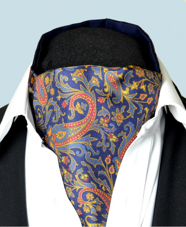Fine Silk Free Spirit Paisley Pattern Cravat in Navy