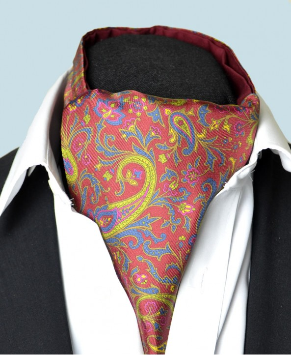 Fine Silk Free Spirit Paisley Pattern Cravat in Red
