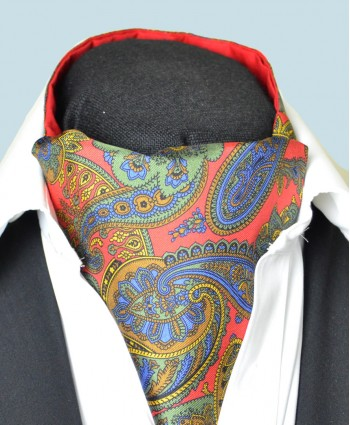 Fine Silk Proud Peacock Paisley Pattern Cravat in Mid Red