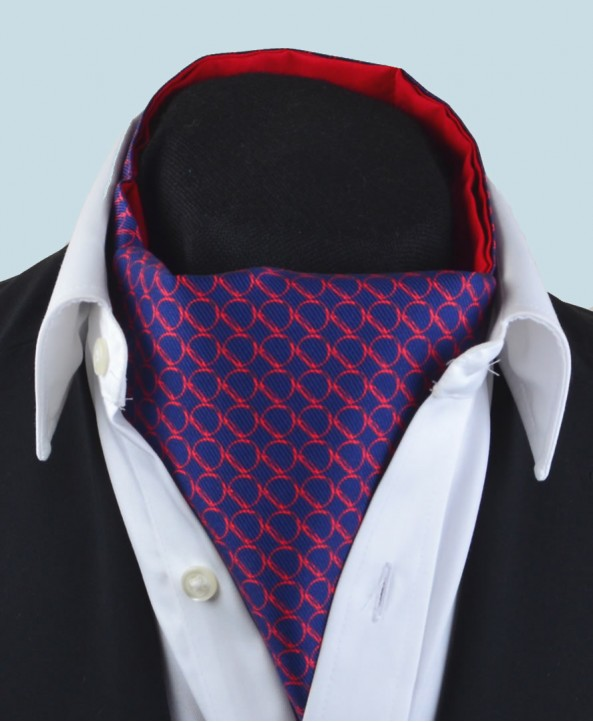 Fine Silk Stirrup Links Pattern Cravat in Navy Blue