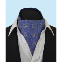 Silk Cravat in a Stone Washed Denim Design with hints of Gold and Green