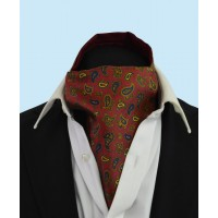 Silk Cravat in a  Whimsical  Navy and Gold Pattern on a Deep Red Background