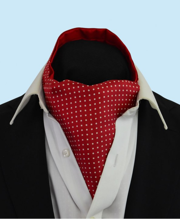 Silk Cravat in Deep Red with White Spots