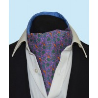 Silk Cravat Strawberry thief in Regal Purple with hints of Yellow, Green and Pink