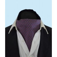 Silk Cravat with a Quirky Red and White Link Design on a Purple Background