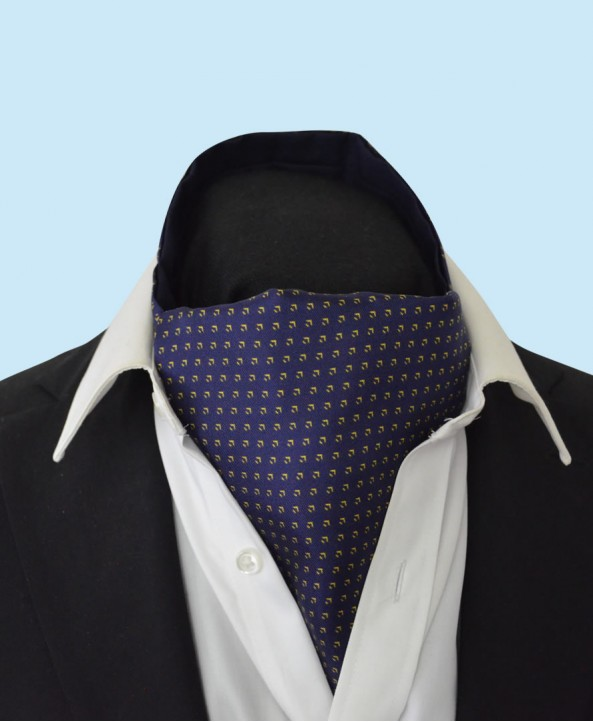 Silk Cravat with Neat Gold Design on a Classic Navy Background