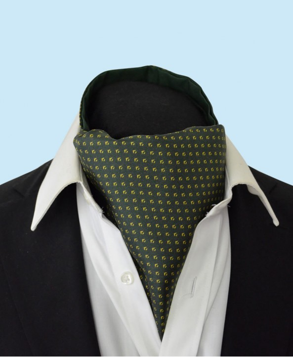 Silk Cravat with Neat Gold Design on an Olive Green Background